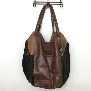 Brown Leather Patchwork Bag